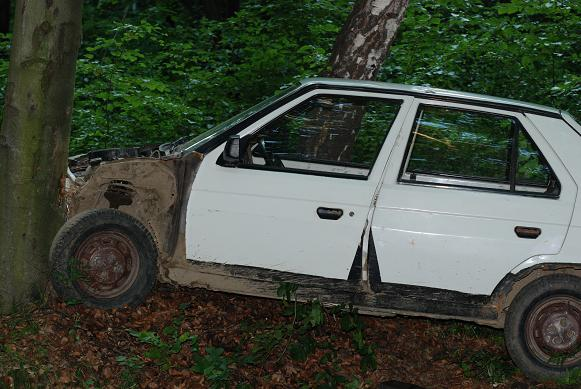 Kierowca tego samochodu uderzył w drzewo i uciekł z miejsca wypadku. Fot. Damian Palar
