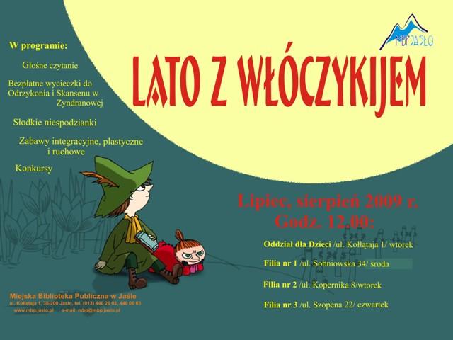 Plakat zapowiadający tegoroczne wakacje z Miejską Biblioteką Publiczną w Jaśle.