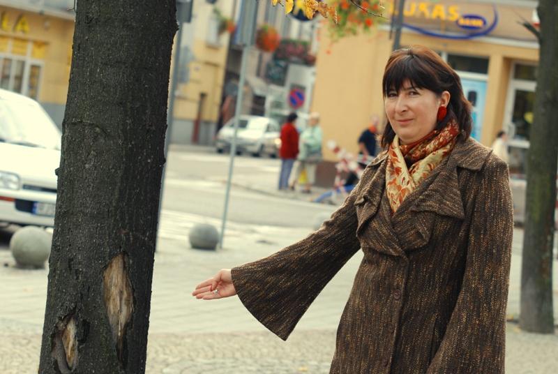 Joanna Pawelec, inspektor ds. zieleni miejskiej UMJ pokazuje nam chore drzewa. Fot. Damian Palar