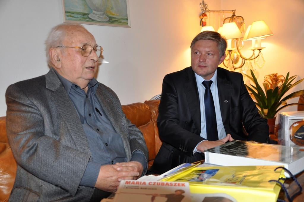 Spotkanie burmistrza Jasła z Jerzym Dudusiem Matuszkiewiczem