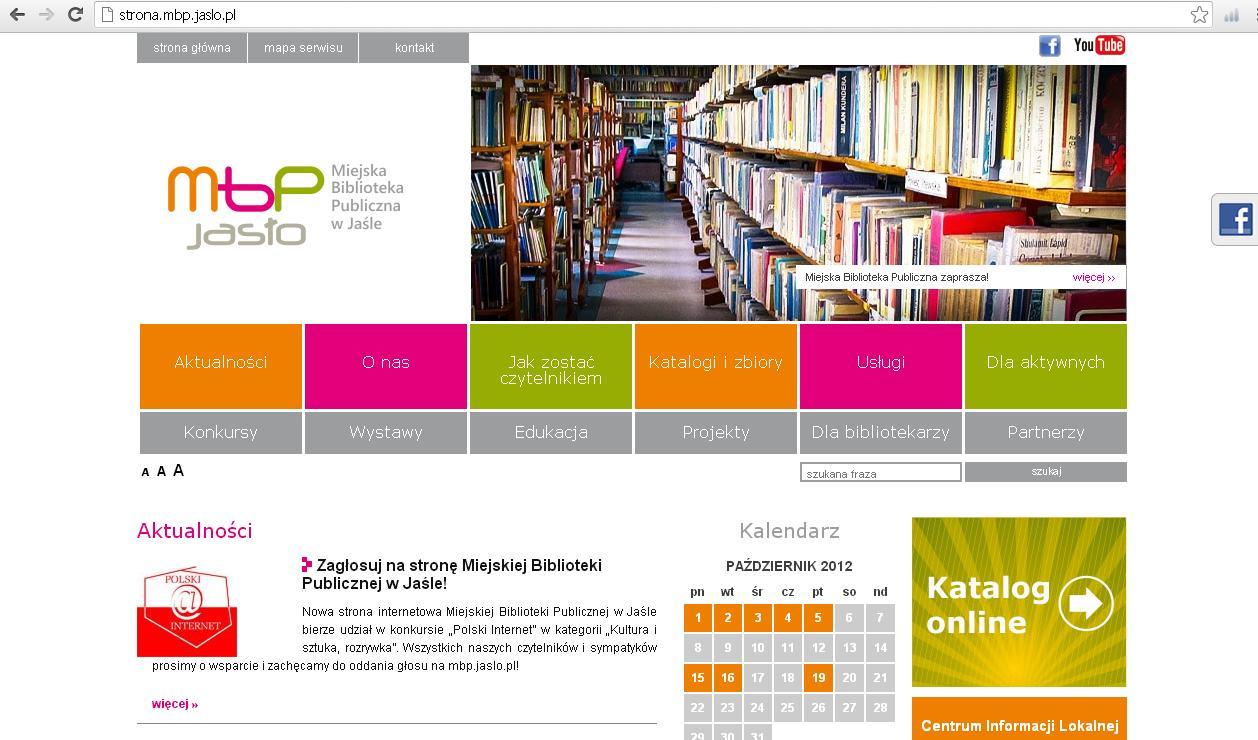 Zrzut ekranowy strony MBP w Jaśle