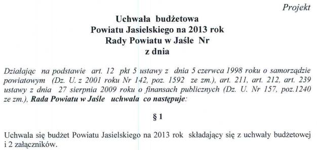 Projekt uchwały budżetowej