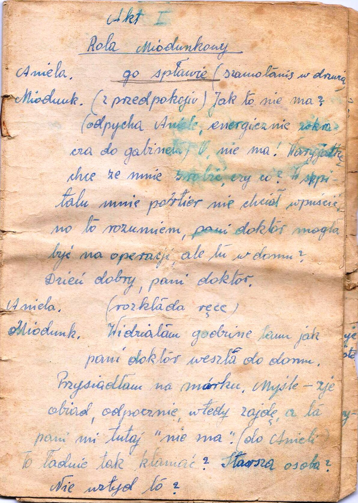 ękopis sztuki teatralnej napisanej przez Michalinę Kurowską (1950 rok)