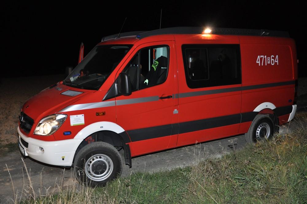 Specjalistyczny samochód ratownictwa chemicznego z JRG Leżajsk na miejscu działań ratowniczych w miejscowości Błażkowa