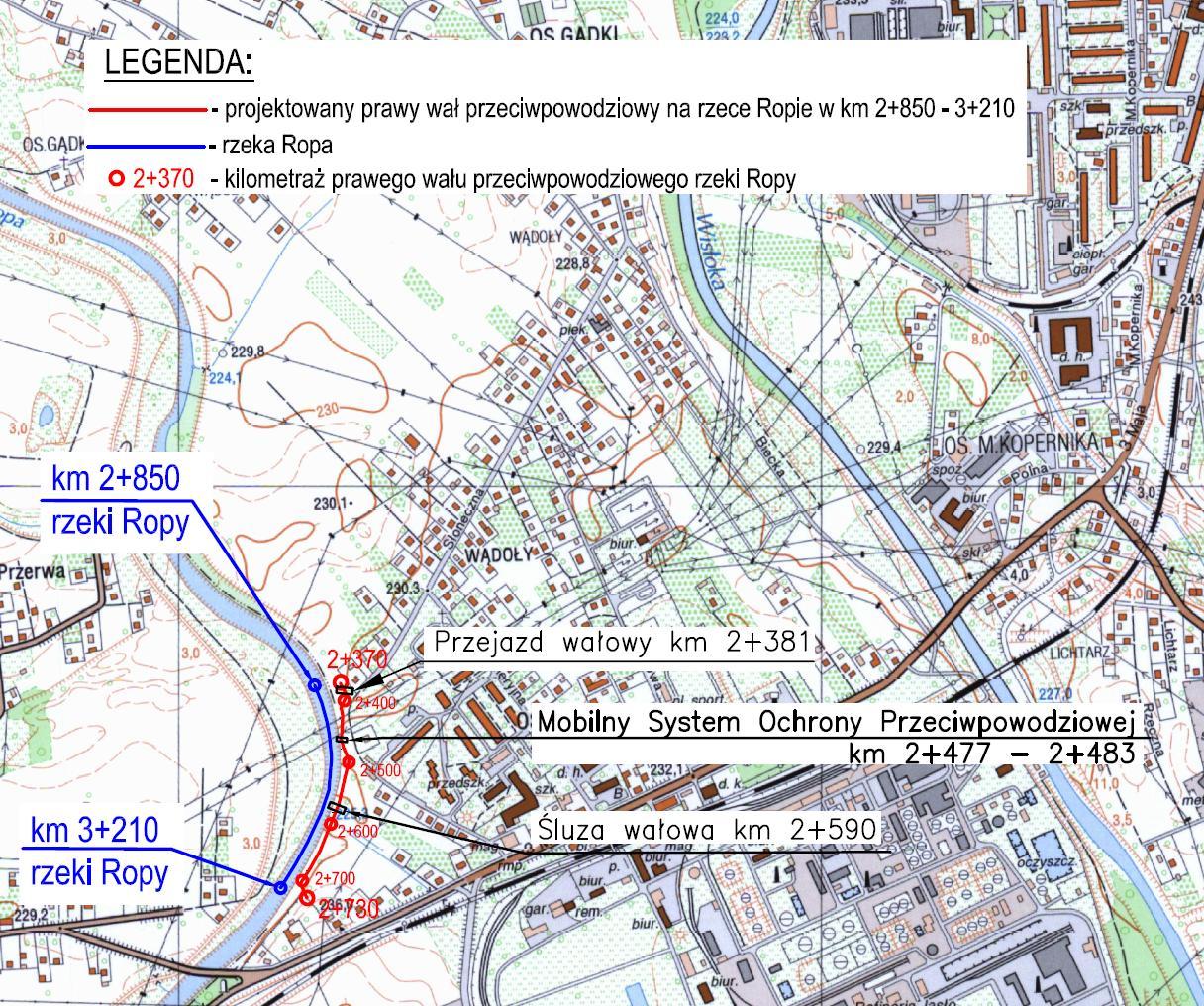 Mapa poglądowa lokalizacji obwałowania na osiedlu Rafineryjnym