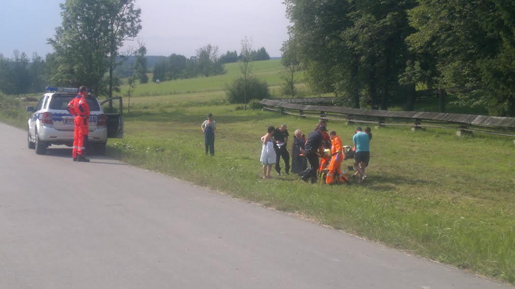 Działania ratownicze na miejscu zdarzenia. Fot. © terazJaslo.pl / Czytelnik Marcin