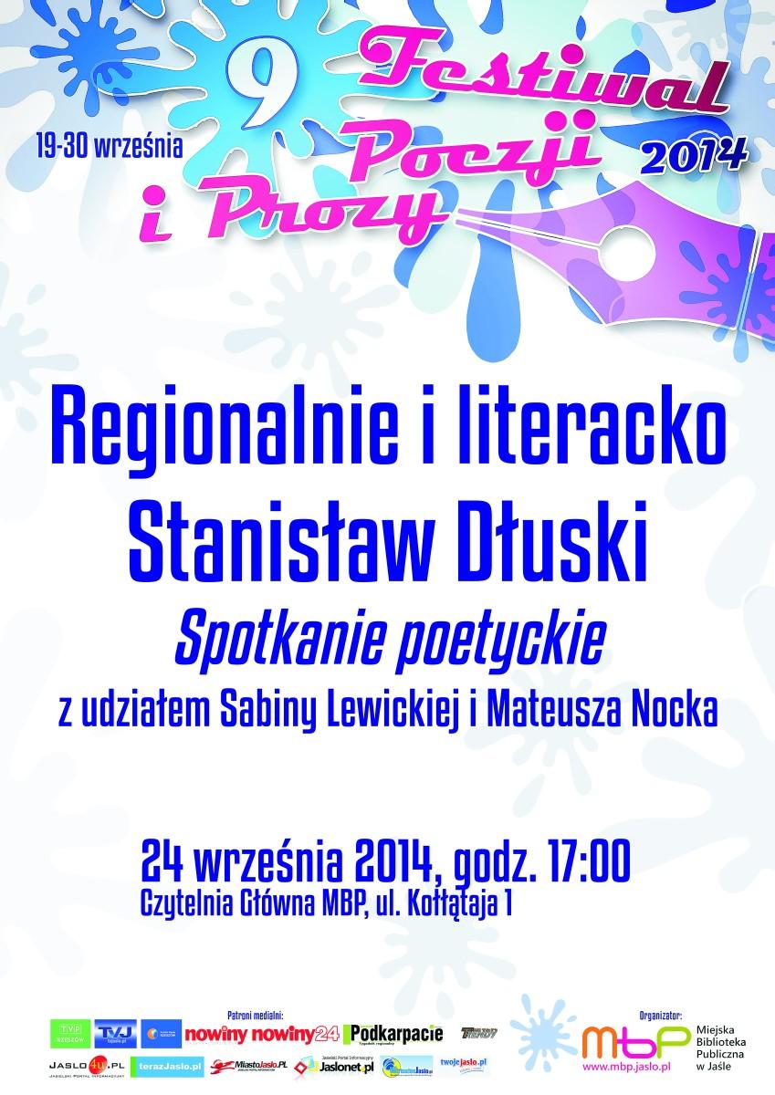 2014.09.19-30 Jasło  IX Festiwal Poezji i Prozy – Spotkanie S. Dłuski