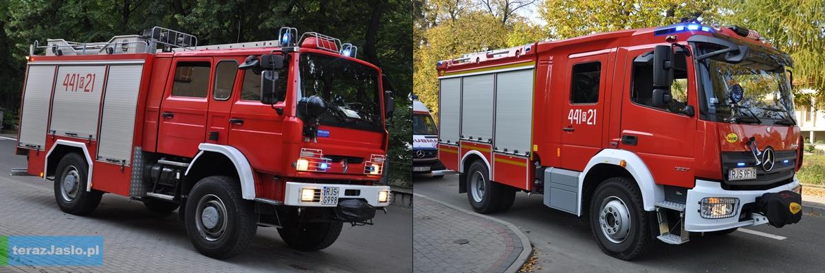 Stary i nowy samochód pierwszego wyjazdu jasielskich strażaków. Fot. © terazJaslo.pl / DAMIAN PALAR