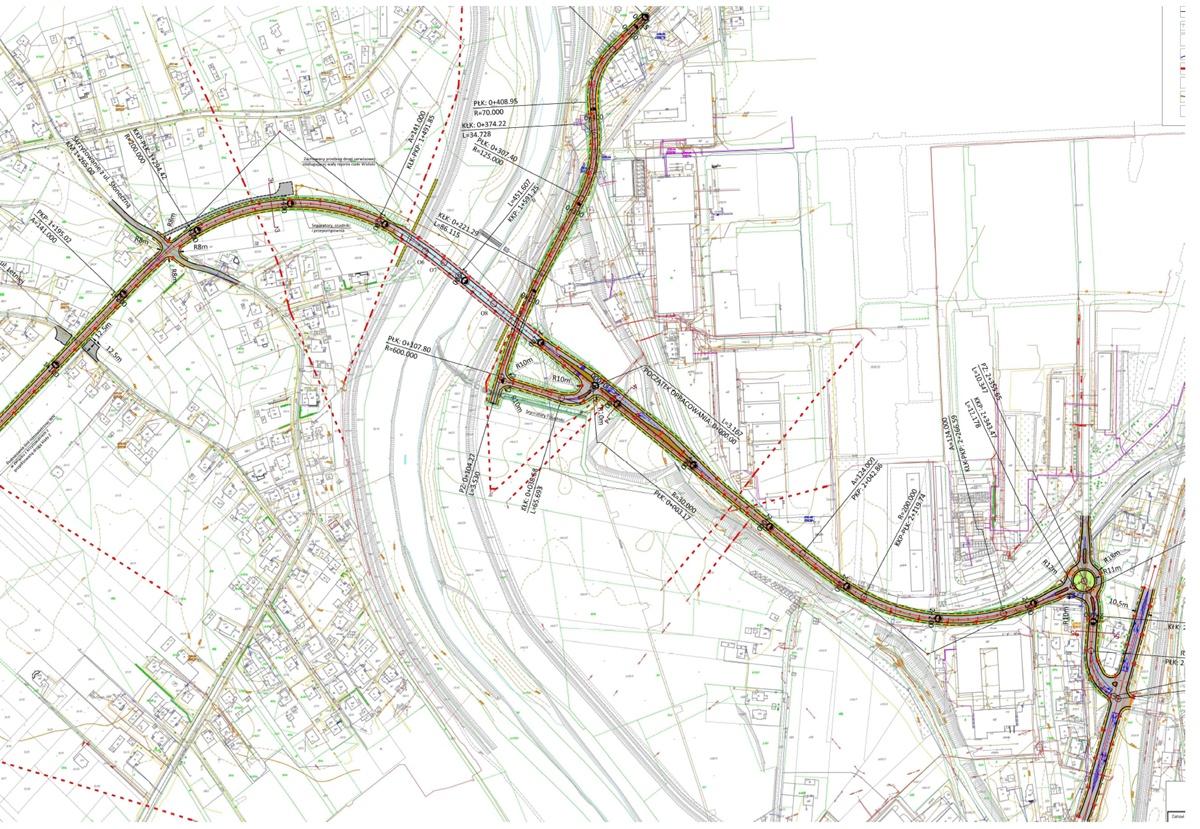 Koncepcja przestrzenna rozwiązania komunikacyjnego 3-go Maja - Karpacka Troja - droga krajowa nr 28. © źródło mapy: www.powiat.jaslo.pl