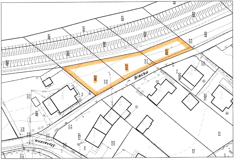 Mapa poglądowa planowanych do przejęcia działek przy ulicy Bieckiej. Źródło: © Urząd Miasta w Jaśle