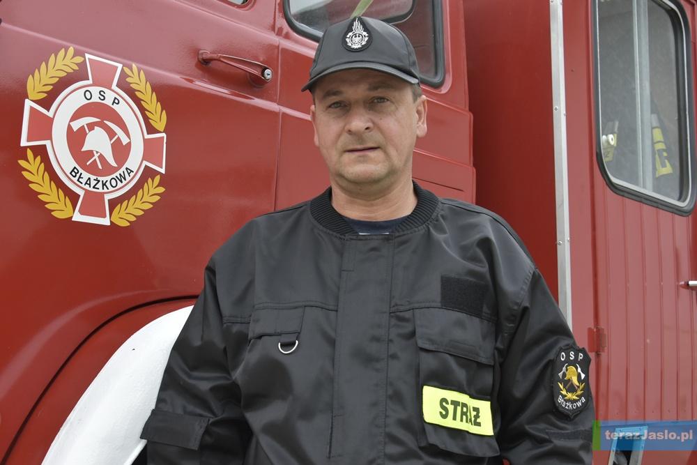 Adam Wal, prezes Ochotniczej Straży Pożarnej w Błazkowej. Fot. © terazJaslo.pl / Damian PALAR