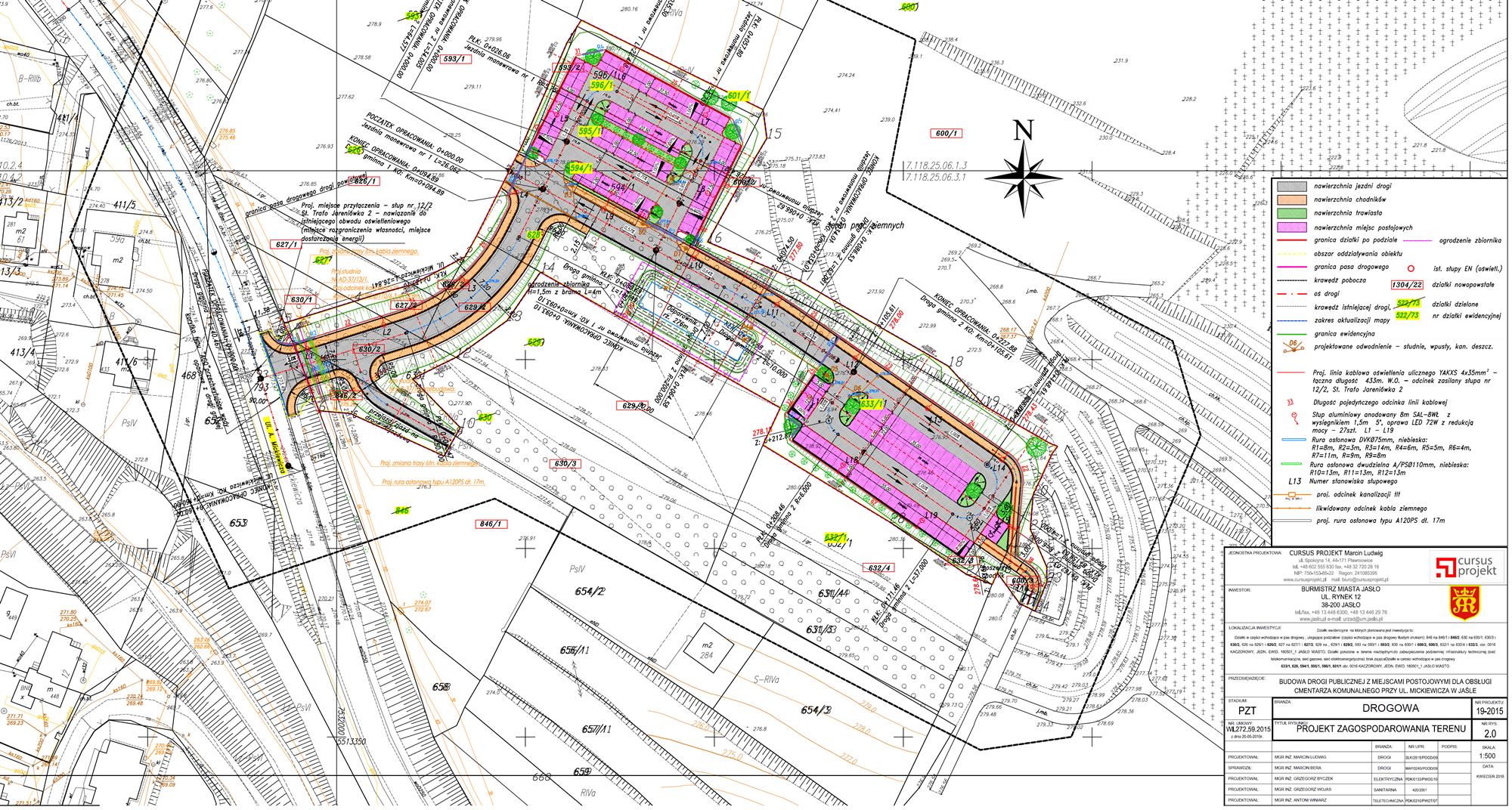 Projekt techniczny parkingu wraz z drogą dojazdową (kliknij, aby powiększyć). © materiały Urzędu Miasta w Jaśle